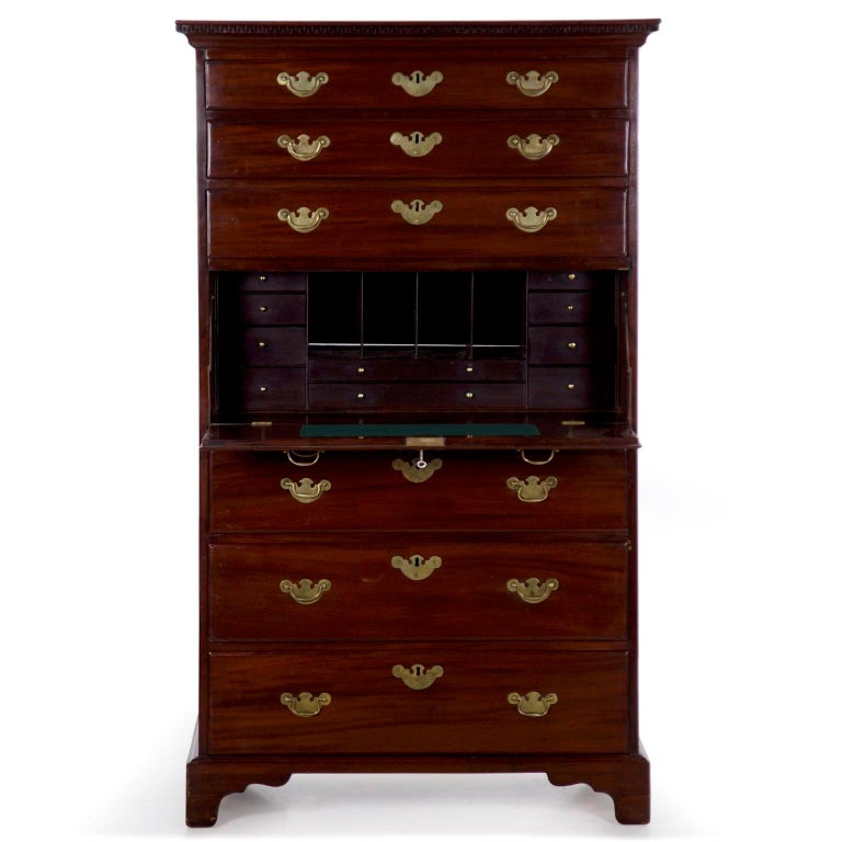 George Iii English Chippendale Mahogany Tall Chest Of Drawers With Secretary Desk For