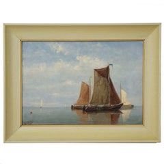 Antique Oil Painting of Fishing Vessels Seascape by Willem Schütz, circa 1896