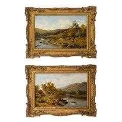 Pair of Antique English Landscape River Paintings by Thomas Callowhill