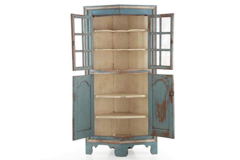 19th Century American Blue Painted Corner Cabinet in Eastern Shore style 2