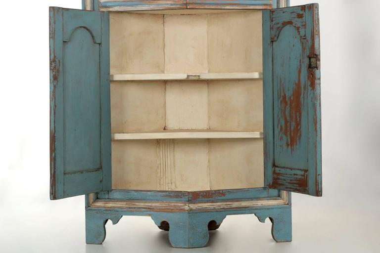 19th Century American Blue Painted Corner Cabinet in Eastern Shore style 6