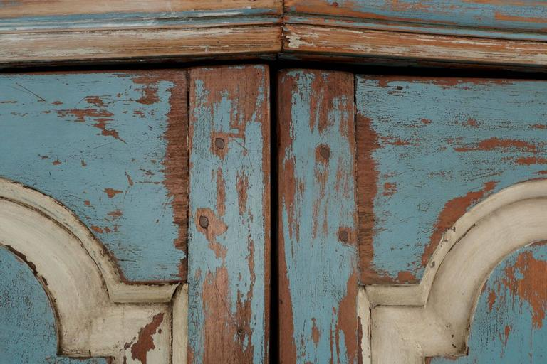 19th Century American Blue Painted Corner Cabinet in Eastern Shore style 8