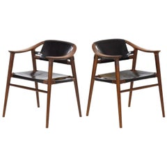 "Rare Mid-Century Modern Sculpted Pair of ""Bambi"" Armchairs by Rastad & Relling"