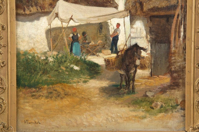 Romantic Authentic Albert Brendel Antique Oil Painting of Village & Donkey, 19th Century For Sale