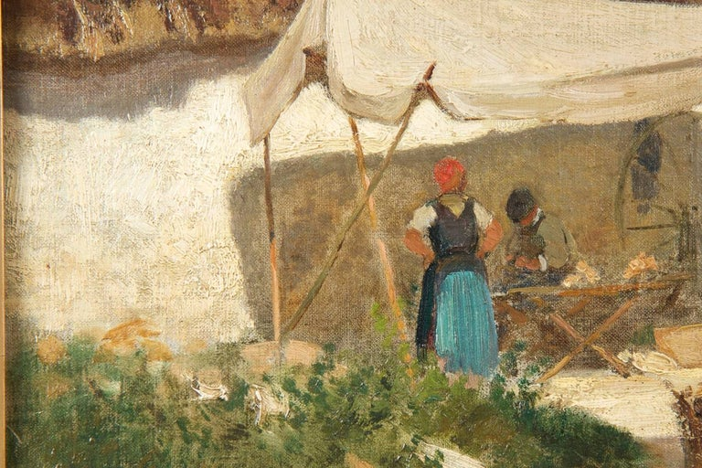Authentic Albert Brendel Antique Oil Painting of Village & Donkey, 19th Century For Sale 1