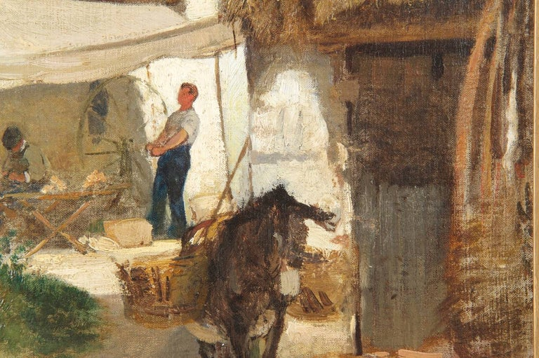 Authentic Albert Brendel Antique Oil Painting of Village & Donkey, 19th Century For Sale 2