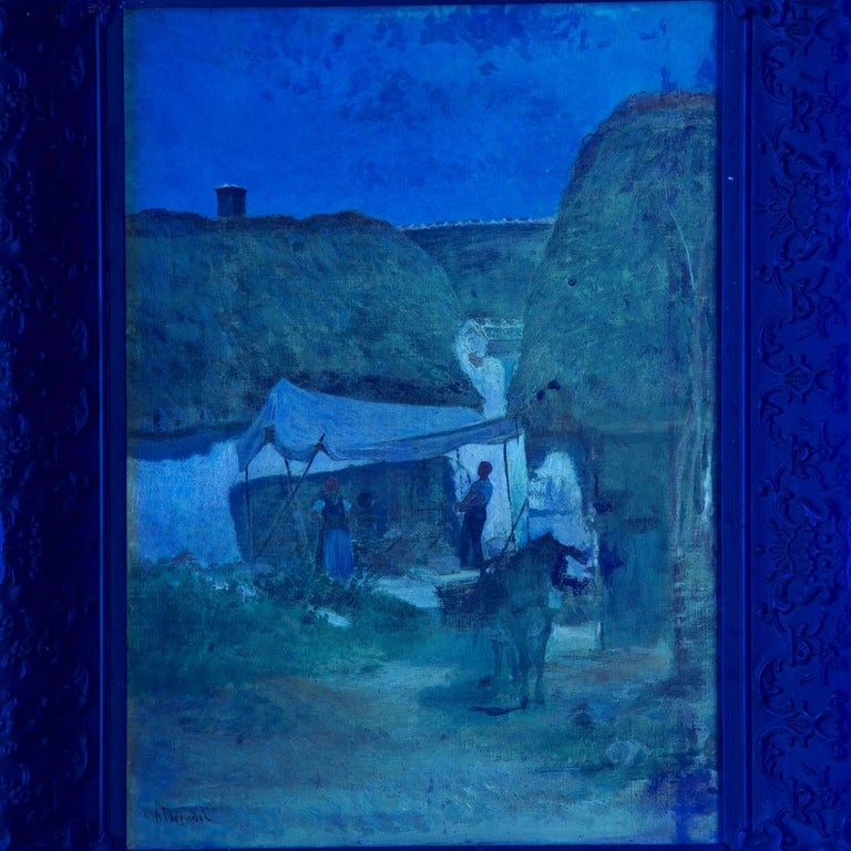 Authentic Albert Brendel Antique Oil Painting of Village & Donkey, 19th Century For Sale 4