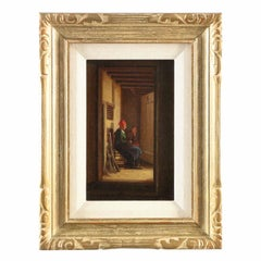 Dutch Interior Antique Painting of Two Figures in Hallway, circa 1864