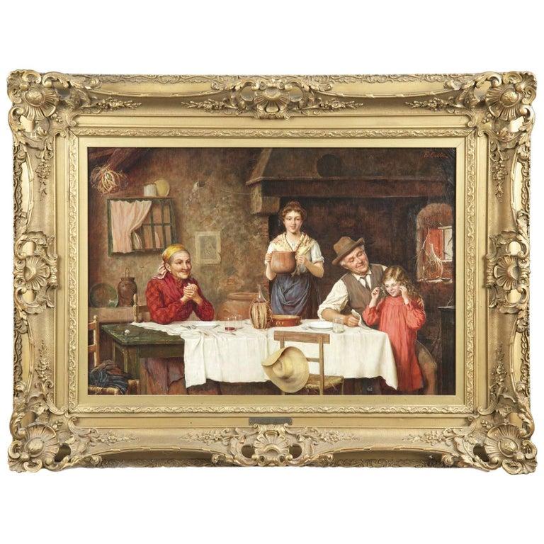 """Grandparent's Favorite"" Antique Interior Scene Painting by Emmanuel Costa For Sale"