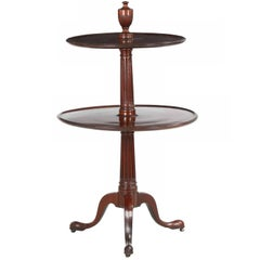 Antique English Two-Tier Carved Mahogany Dumbwaiter Side Table