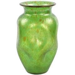 Art Nouveau Handblown Green Iridescent Art Glass Vase