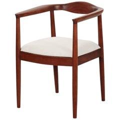 Sculpted Walnut Mid-Century Modern Round Armchair, circa 1960-1970