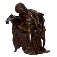 Gertrude Bricard Antique French Bronze Sculpture of Girl Reading Newspaper