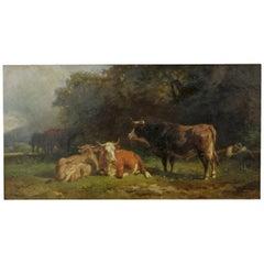 "Antique Painting ""Cattle & Cowherd Resting,"" by Friedrich J. Voltz, circa 1879"