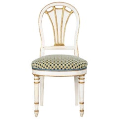 19th Century Directoire White-Painted Parcel Gilt Antique Side Chair