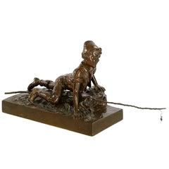 Antique Bronze Sculpture of Boy Fishing Cast by Berndorf Foundry, Vienna Austria
