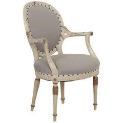Parcel-Gilt White Painted Louis XVI Style Antique Armchair, circa 1940s