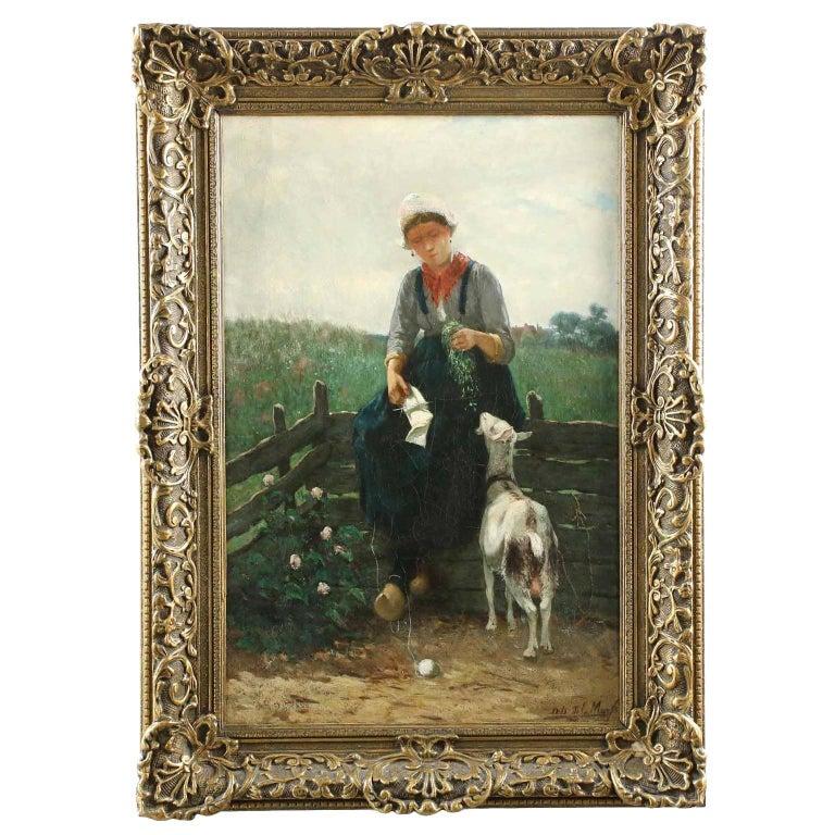 David de la Mar Dutch Barbizon Antique Painting of Girl Feeding Goats For Sale
