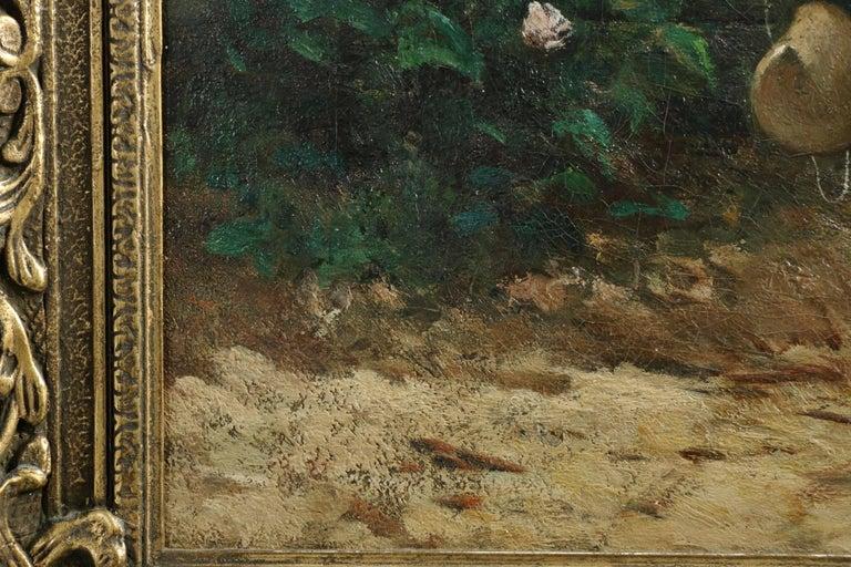 19th Century David de la Mar Dutch Barbizon Antique Painting of Girl Feeding Goats For Sale