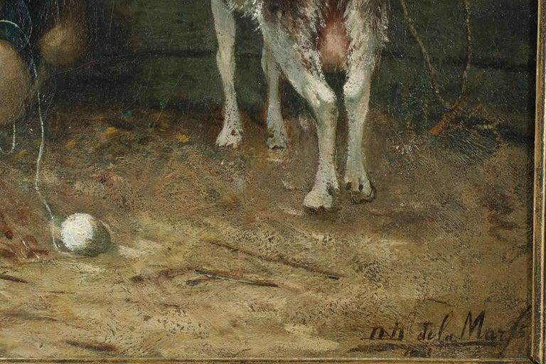 Oil David de la Mar Dutch Barbizon Antique Painting of Girl Feeding Goats For Sale