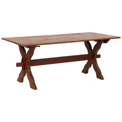 20th Century American Red Painted Scrubbed Pine Vintage Trestle Dining Table