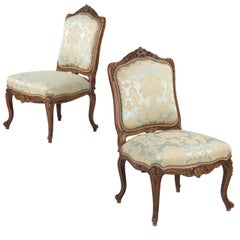 Rococo Revival Pair of Carved Walnut Antique Side Chairs, 19th Century