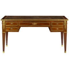 Neoclassical Mahogany & Ormolu-Mounted Antique Writing Desk Bureau Plat, France