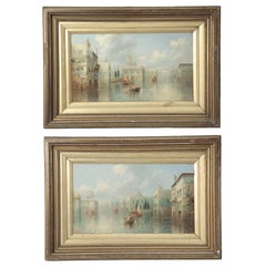 James Salt Pair of Grand Canal Venetian Capriccio Antique Oil Paintings