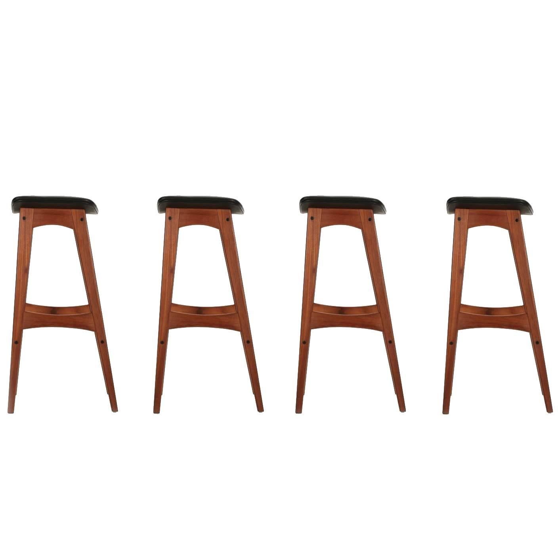 Danish Mid Century Modern Set Of Four Teak Barstools By Johannes Andersen  For Sale