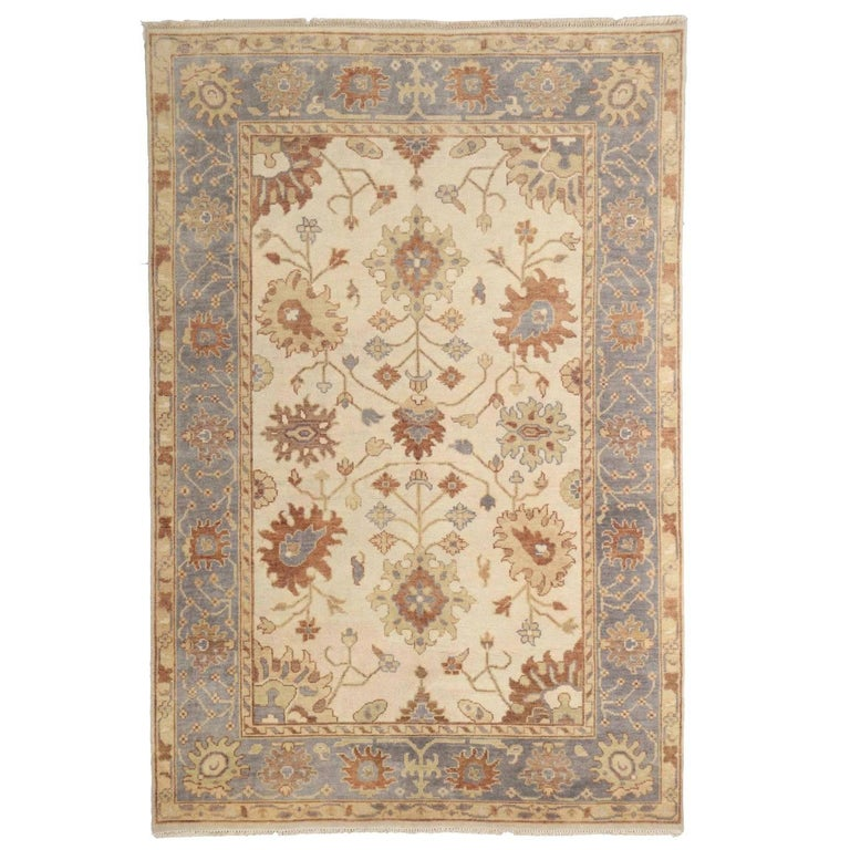 20th Century Turkish Angola Anatolian Oushak Style Vintage Rug For Sale