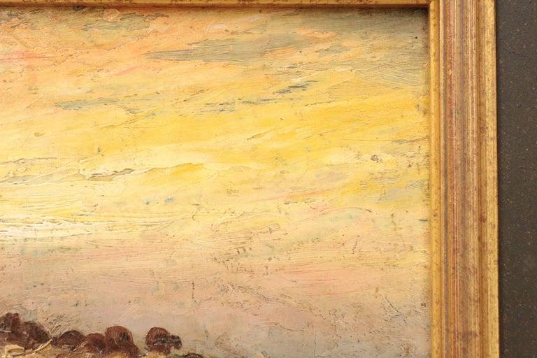Barbizon School Francis Wheaton Pastoral Sheep Landscape Antique Oil Painting For Sale
