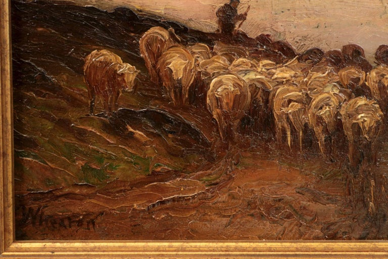Hand-Painted Francis Wheaton Pastoral Sheep Landscape Antique Oil Painting For Sale