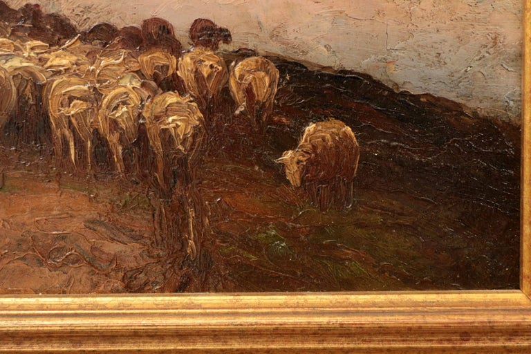 Francis Wheaton Pastoral Sheep Landscape Antique Oil Painting In Good Condition For Sale In Shippensburg, PA