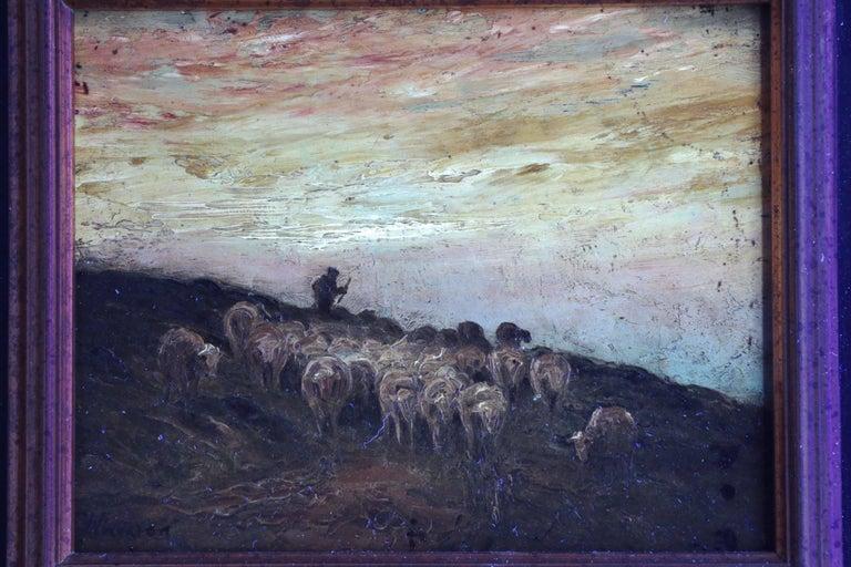Francis Wheaton Pastoral Sheep Landscape Antique Oil Painting For Sale 3