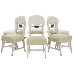 Swedish Gustavian Style Set of Six White Painted Dining Chairs