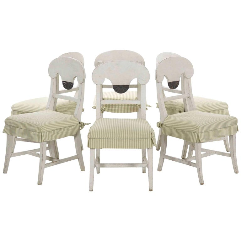 Swedish Gustavian Style Set of Six White Painted Dining Chairs For Sale