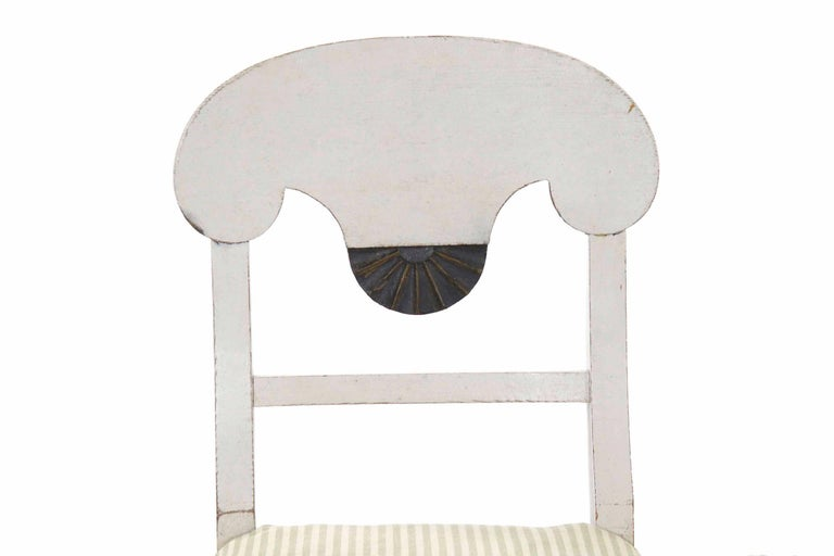 European Swedish Gustavian Style Set of Six White Painted Dining Chairs For Sale