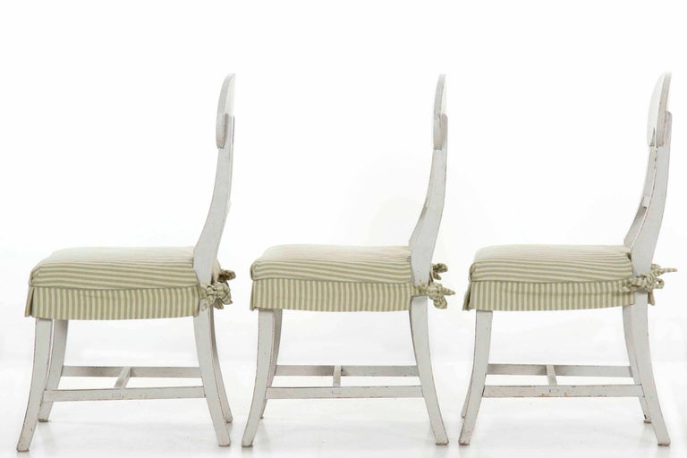 Hand-Carved Swedish Gustavian Style Set of Six White Painted Dining Chairs For Sale