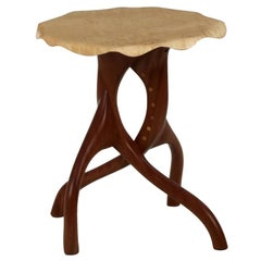 Modern Sculpted Sapele and Maple Side Table