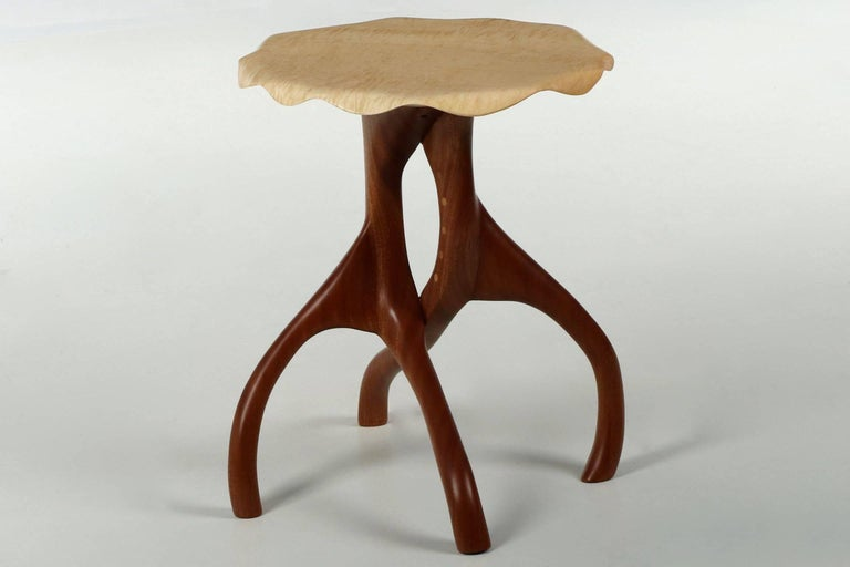 Organic Modern Modern Sculpted Sapele and Maple Side Table For Sale