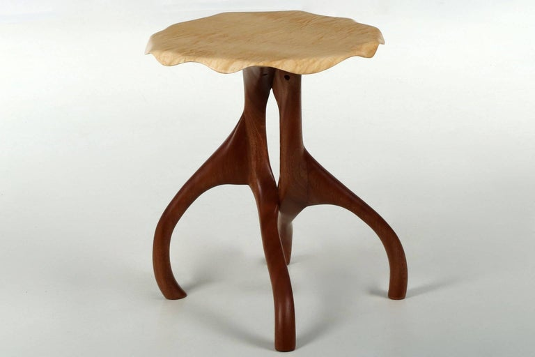 American Modern Sculpted Sapele and Maple Side Table For Sale