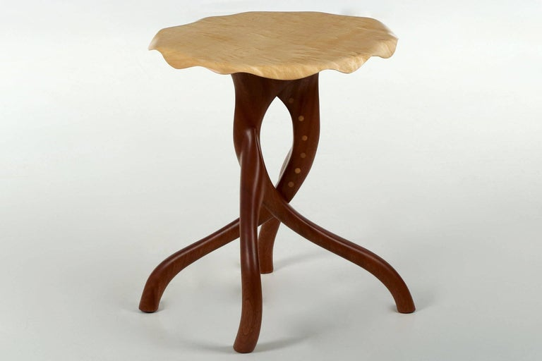 Modern Sculpted Sapele and Maple Side Table In Excellent Condition For Sale In Shippensburg, PA