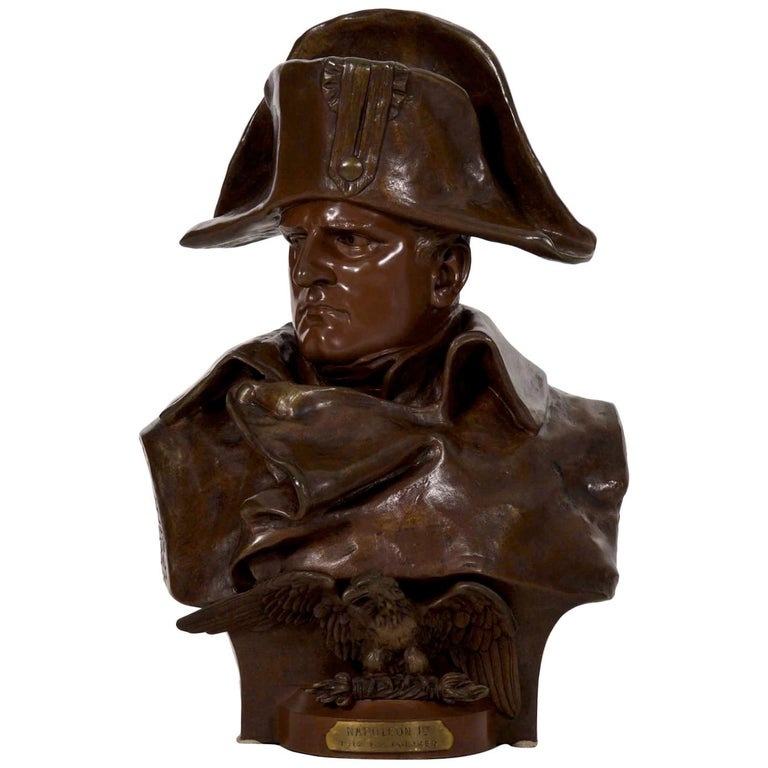 Renzo Colombo Italian, 1856-1885 Antique Bronze Sculpture 'Bust of Napoleon' For Sale
