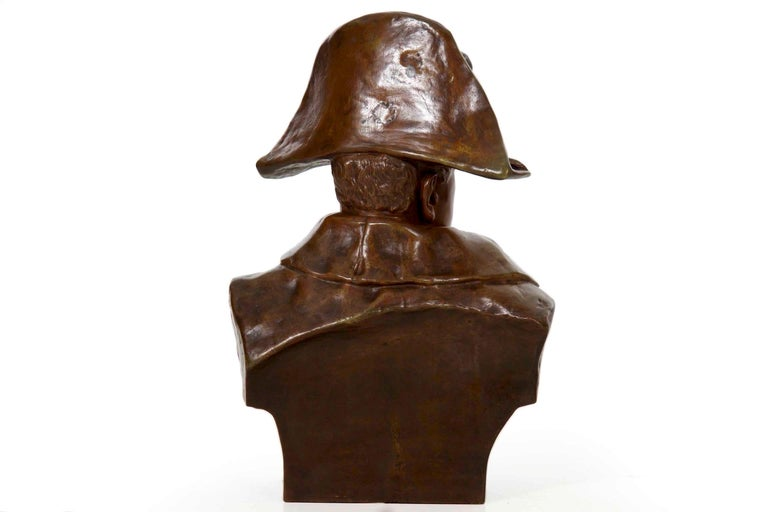 Romantic Renzo Colombo Italian, 1856-1885 Antique Bronze Sculpture 'Bust of Napoleon' For Sale