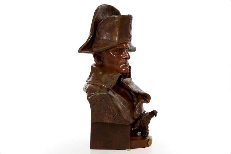 Renzo Colombo Italian, 1856-1885 Antique Bronze Sculpture 'Bust of Napoleon' In Good Condition For Sale In Shippensburg, PA