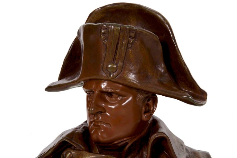 19th Century Renzo Colombo Italian, 1856-1885 Antique Bronze Sculpture 'Bust of Napoleon' For Sale