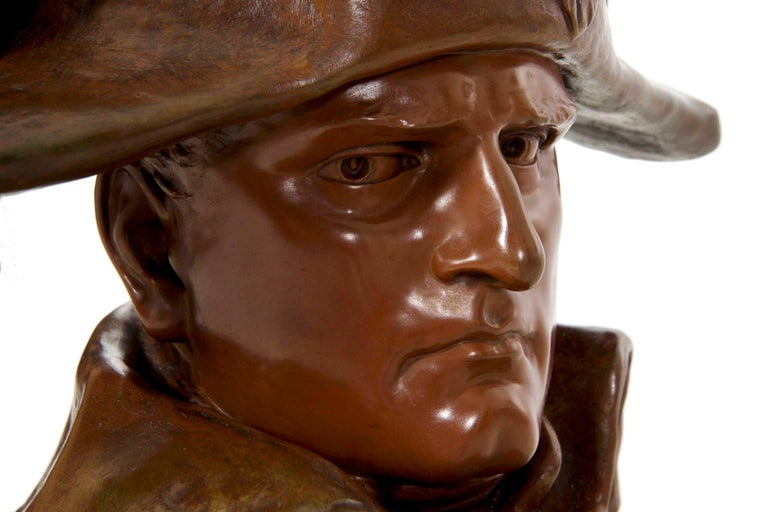 Renzo Colombo Italian, 1856-1885 Antique Bronze Sculpture 'Bust of Napoleon' For Sale 14