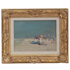 Jaime E. Carret American, 1878-1941 'Beach Scene' Painting in Oil on Panel