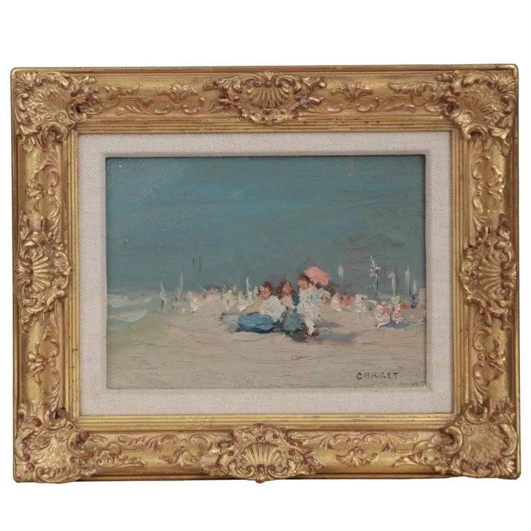 Jaime E. Carret American, 1878-1941 'Beach Scene' Painting in Oil on Panel For Sale