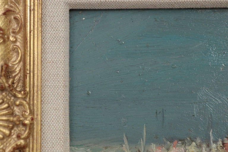 Hand-Painted Jaime E. Carret American, 1878-1941 'Beach Scene' Painting in Oil on Panel For Sale